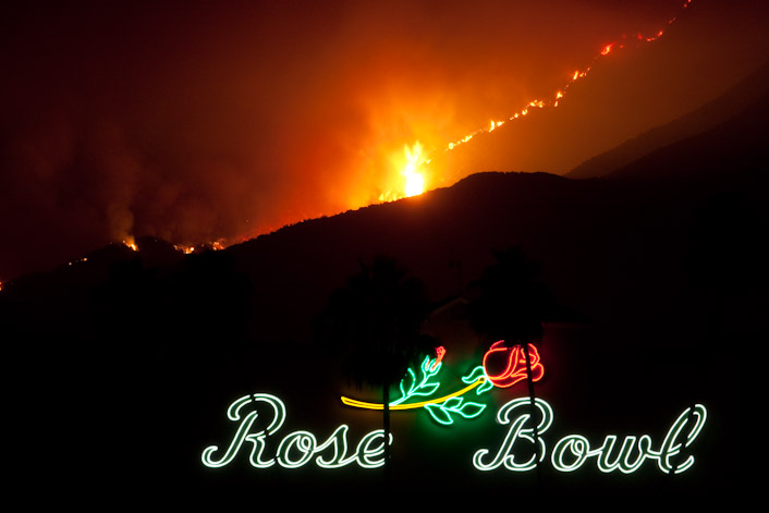 Rose Bowl and fire