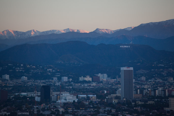 Snow over the Hollywood Sign