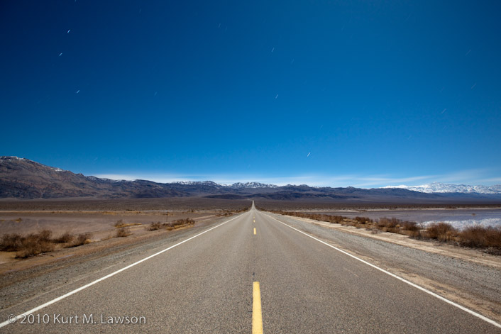 The road to Death Valley by moonlight