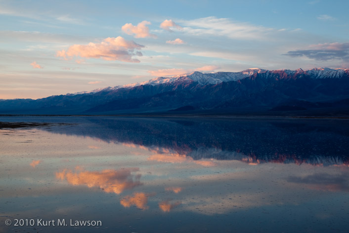 The first rays of sunrise hit Telescope Peak and the Panamint range