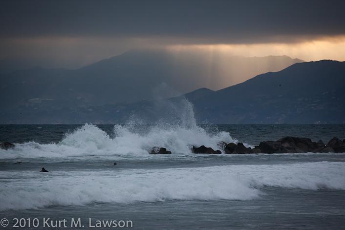 Crashing waves and god rays