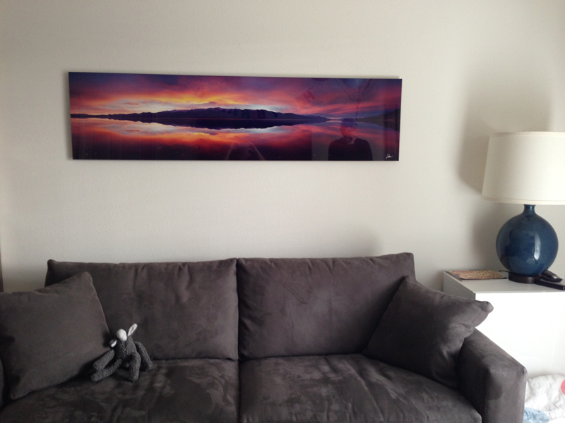 "Customer photo of an 18x70"" aluminum mounted print of ""Wow"""
