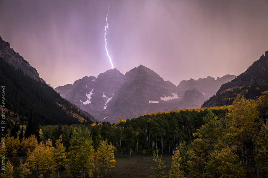 Lightning Strikes the Maroon Bells