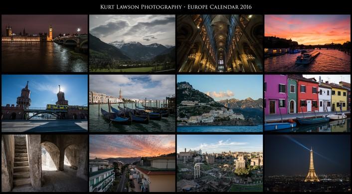2016 calendar grids - europe