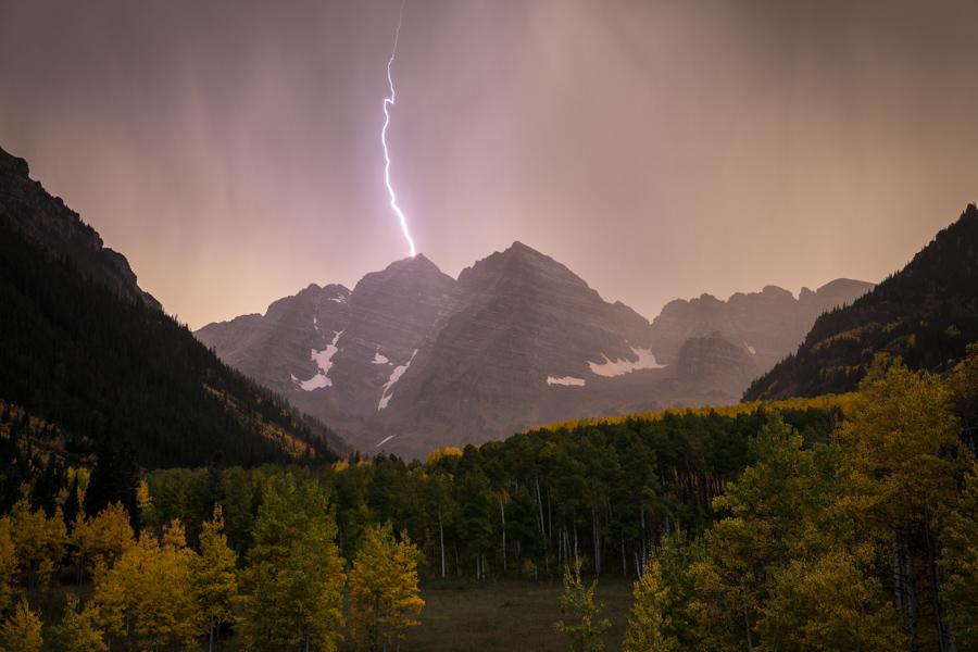 Lightning Strikes the Maroon Bells
