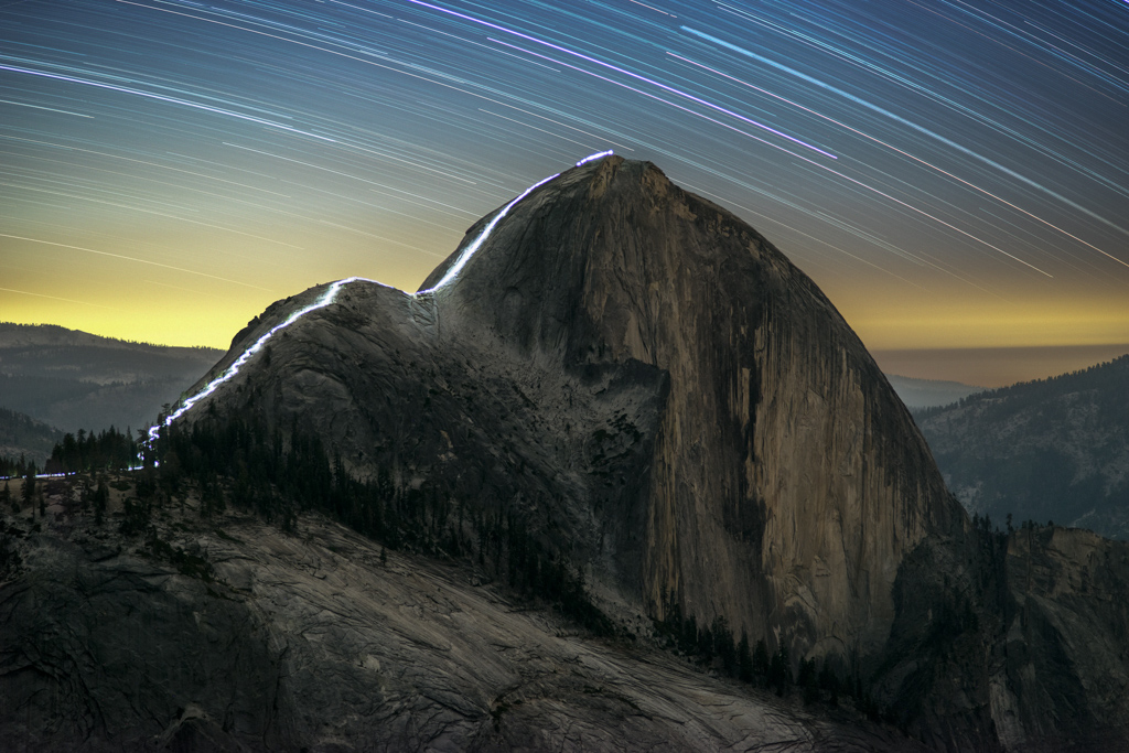The Cable Route of Half Dome at Night, illuminated by Wade