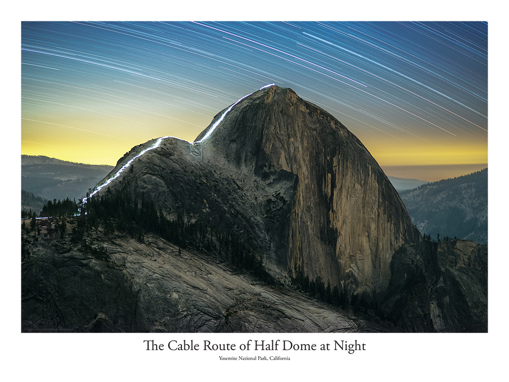 The Cable Route of Half Dome at Night 18x24 Poster