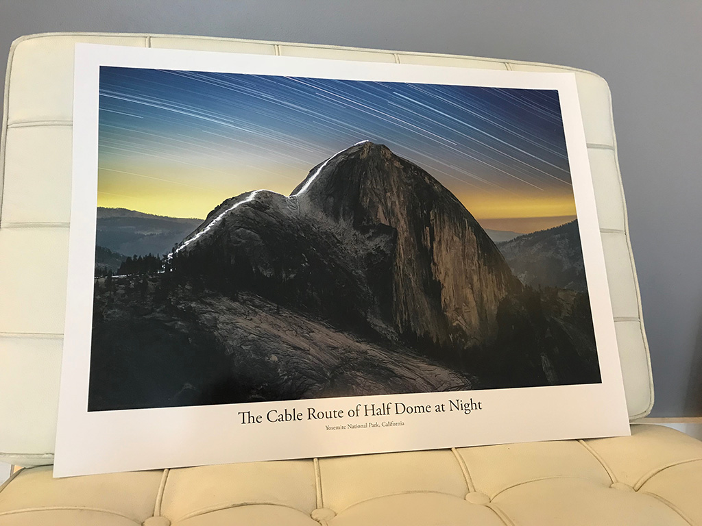 Cable Route of Half Dome at Night, Printed
