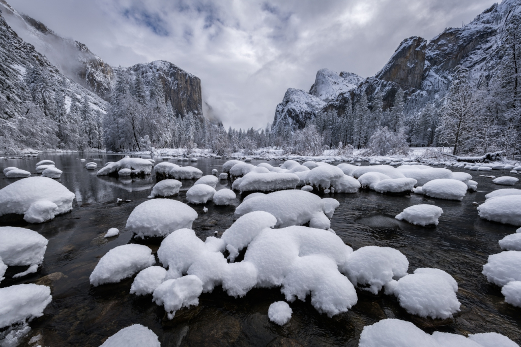 Snowy Gates and the Merced River